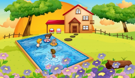 man outdoors: illustration of a house and kids in a beautiful nature