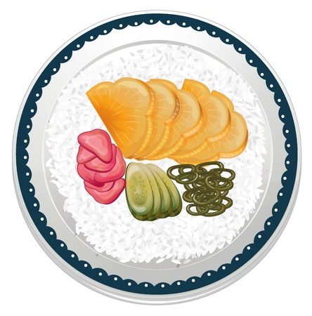 garnishing: illustration of food and a dish on a white background
