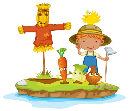 scarecrow: illustration of a boy and vegetables on a white background