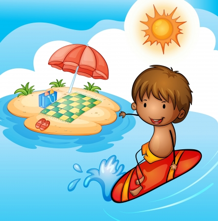 water: detailed illustration of a surfing boy in a beautiful nature