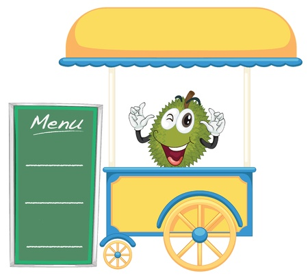 illustration of a cart stall and a durian on a white background Vector Illustration