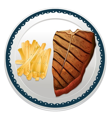baked potato: illustration of a steak and fries on a white background