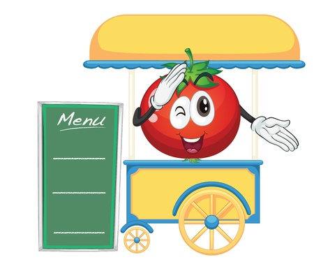 movable: illustration of a cart stall and a tomato on a white background Illustration