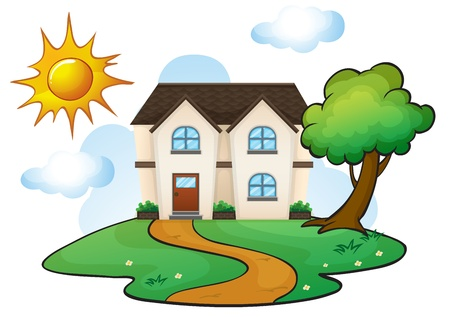 illustration of a house in a beautiful nature Stock Vector - 16379151