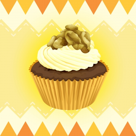 Illustration of an isolated cupcake and a wallpaper Stock Vector - 16379155