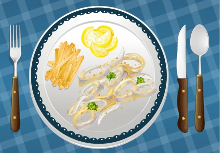 garnishing: illustration of a food and a dish on a blue placemat