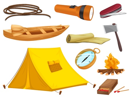 trekking: illustration of various objects of camping on a white background Illustration