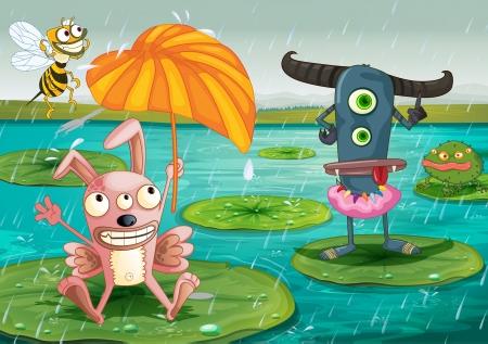 monstrous: illustrazione, di mostri e di acqua in una bellissima natura