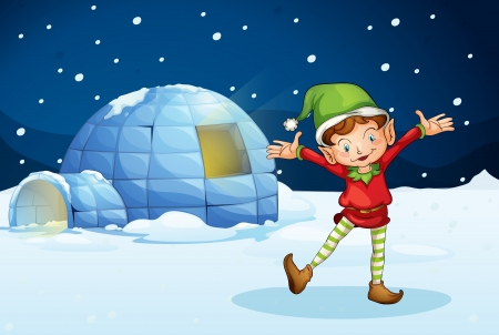 illustration of an elf and an iglu in the night Vector