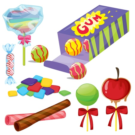 gums: illustration of various sweets on a white background
