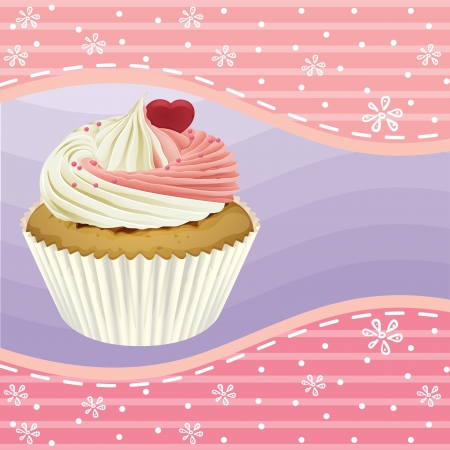 Illustration of an isolated cupcake and a wallpaper Stock Vector - 16437427