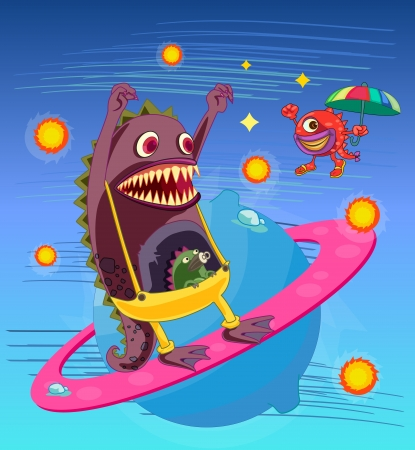 illustration of monsters on a blue background Vector