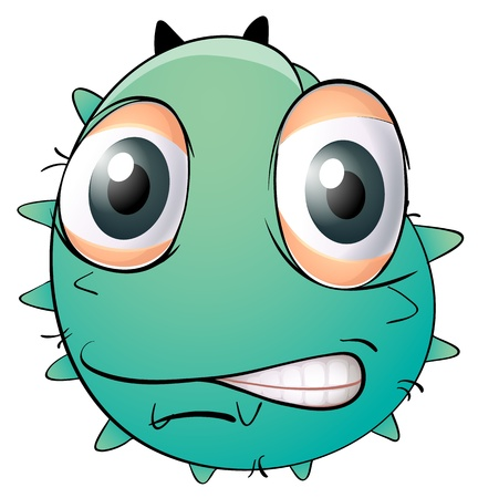 illustration of a face of a monster on a white background Vector
