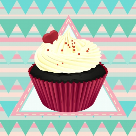 Illustration of an isolated cupcake and a wallpaper Stock Vector - 16437483