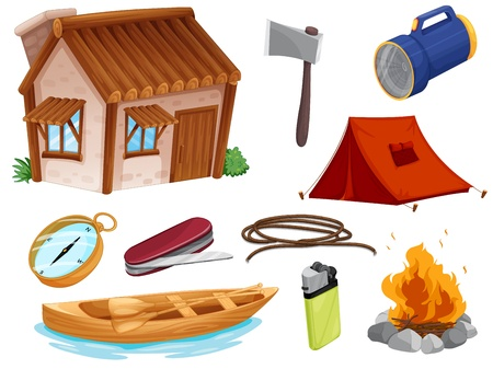 illustration of various objects of camping on a white background Stock Vector - 16437623