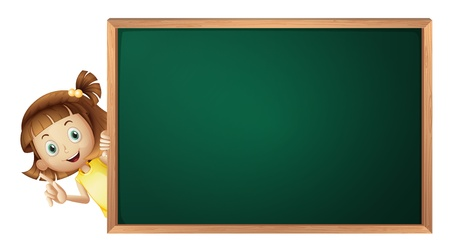 chalk board: illustration of a girl and a green board on a white background