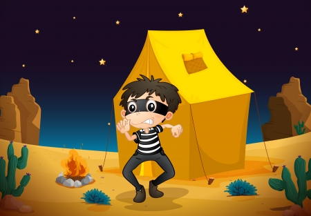 illustration of a tent house and a boy in night sky Stock Vector - 16437622
