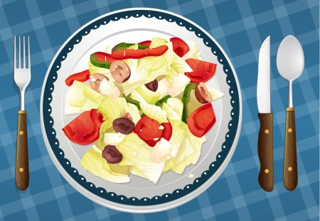 garnishing: illustration of Salad on a blue placemat