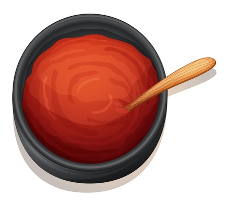 garnishing: illustration of a red sauce on a white background