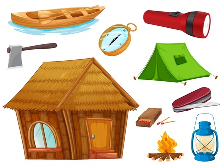 flashlight: illustration of various objects of camping on a white background Illustration