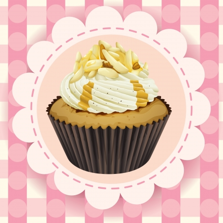 Illustration of an isolated cupcake and a wallpaper Stock Vector - 16395055