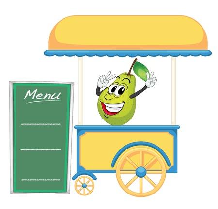 bancarella: illustrazione di una stalla carrello e una pera su uno sfondo bianco