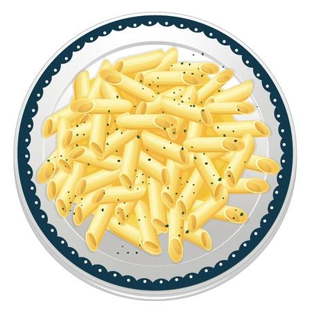 pietanza: illustrazione di pasta su uno sfondo bianco