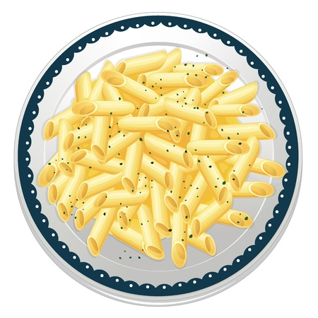 utensilios de cocina: Ilustraci�n de la pasta en un fondo blanco
