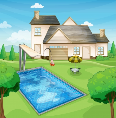 swimming pool home: illustration of a house and kids in a beautiful nature