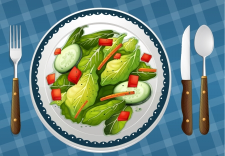 garnishing: illustration of a food and a dish on a blue color background
