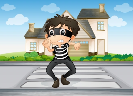 illustration of a boy and a house in a beautiful nature Vector