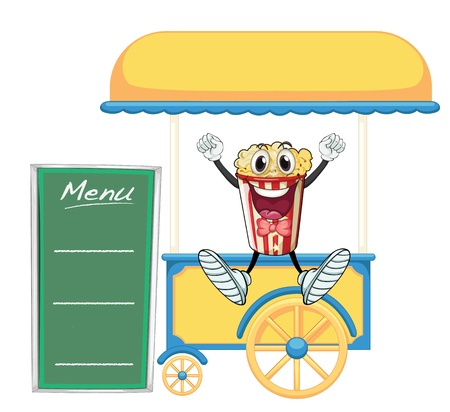 movable: illustration of a cart stall and a popcorn on a white background