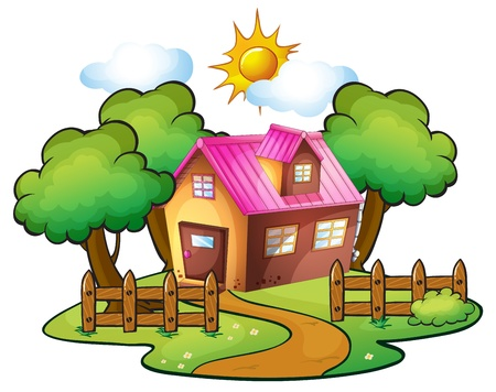 wooden houses: illustration of a house in a beautiful nature Illustration