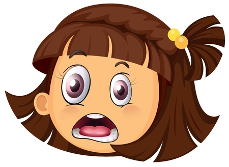 girl tongue: illustration of a girl face on a white background