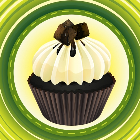 Illustration of an isolated cupcake and a wallpaper Vector