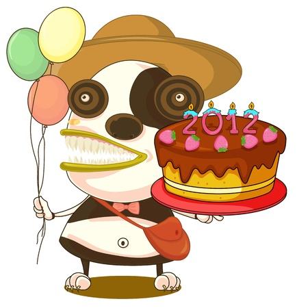 モンスターと白い背景の上の誕生日ケーキのイラスト