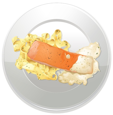 nutritious: illustration of a food and a dish on a white background