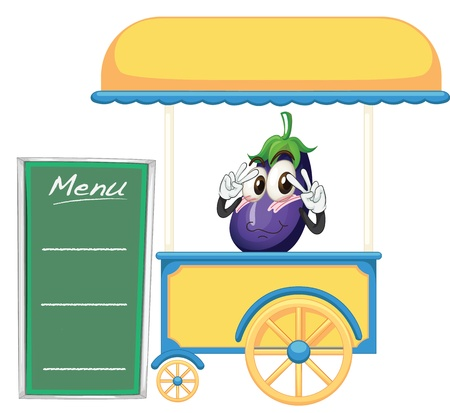 movable: illustration of a cart stall and a fruit on a white background Illustration