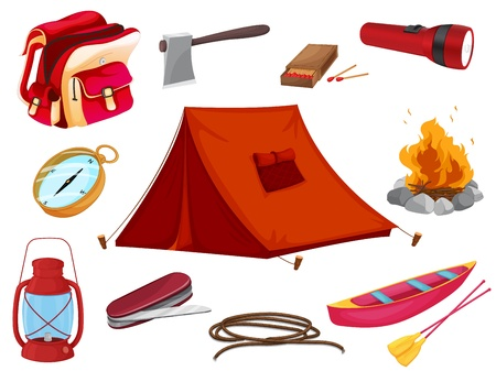 illustration of various objects of camping on a white background Stock Vector - 16395094