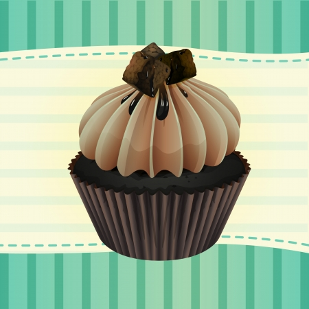 mini: Illustration of an isolated cupcake and a wallpaper Illustration