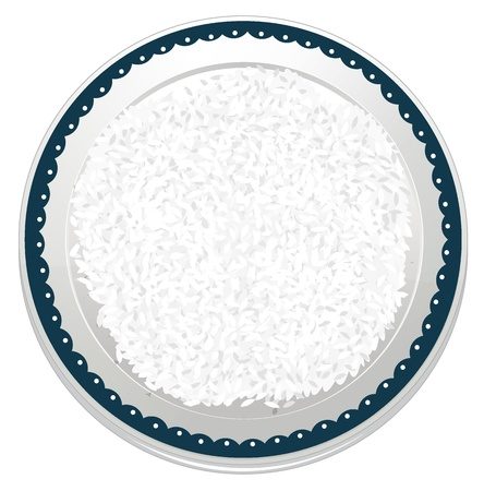 rice plate: illustration of rice on a white background Illustration