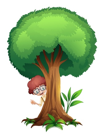 young tree: illustration of a boy and a tree on a white background