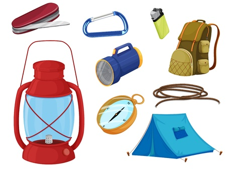 illustration of various objects of camping on a white background Vector