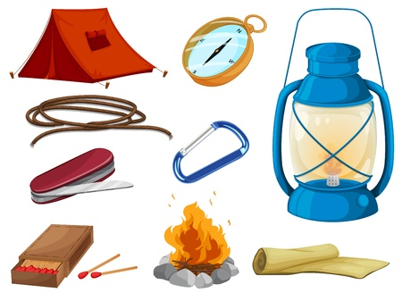 foldable: illustration of various objects of camping on a white background Illustration