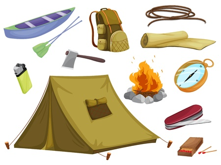 movable: illustration of various objects of camping on a white background Illustration