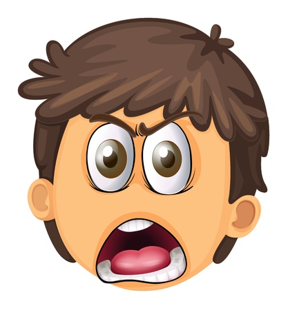 shouting: illustration of a boy face on a white background