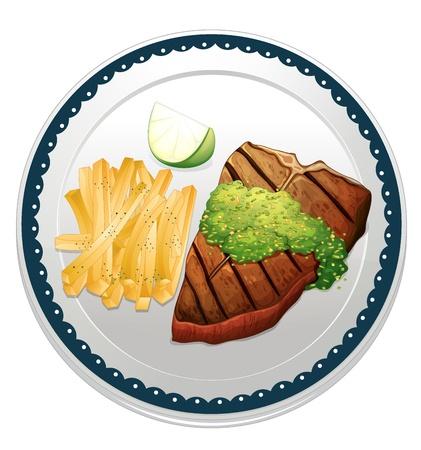 piatto cibo: illustrazione di un alimento su sfondo blu Vettoriali