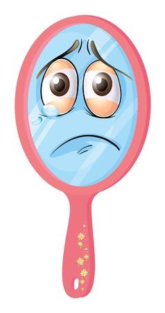 occhi tristi: illustrazione di uno specchio con la faccia su uno sfondo bianco