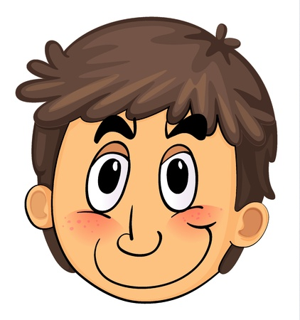 human body parts: illustration of a boy face on a white background