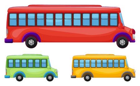 many windows: illustration of buses on a white background Illustration
